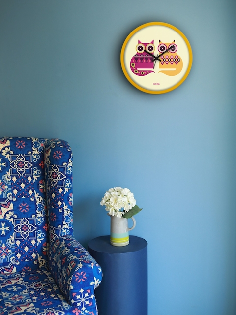 Chumbak Yellow Round Printed 34.5 cm Analogue Wall Clock