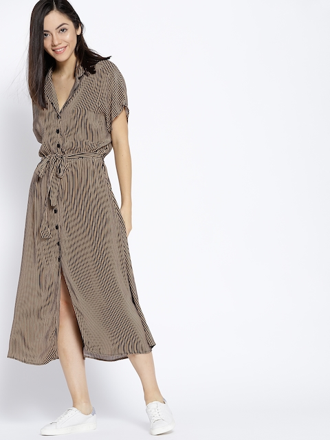 MANGO Women Beige Striped Shirt Dress