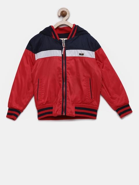 U.S. Polo Assn. Boys Red & Navy Blue Colourblocked Reversible Jacket