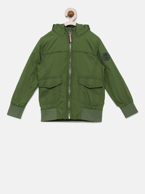 U.S. Polo Assn. Boys Olive Green Solid Windcheater Open Front Jacket