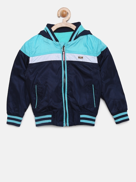 U.S. Polo Assn. Kids Boys Navy Blue Colourblocked Reversible Open Front Windbreaker Jacket
