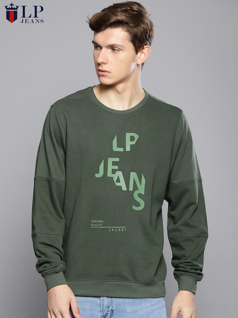 Louis Philippe Jeans Men Olive Green Printed Sweatshirt