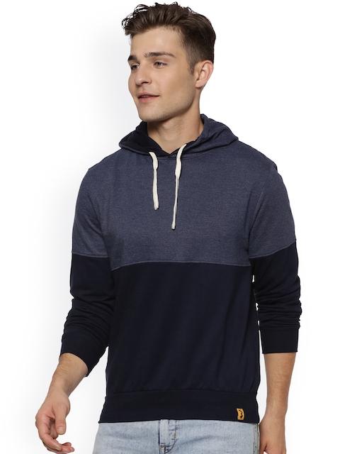 Campus Sutra Men Blue Colourblocked Hooded Sweatshirt