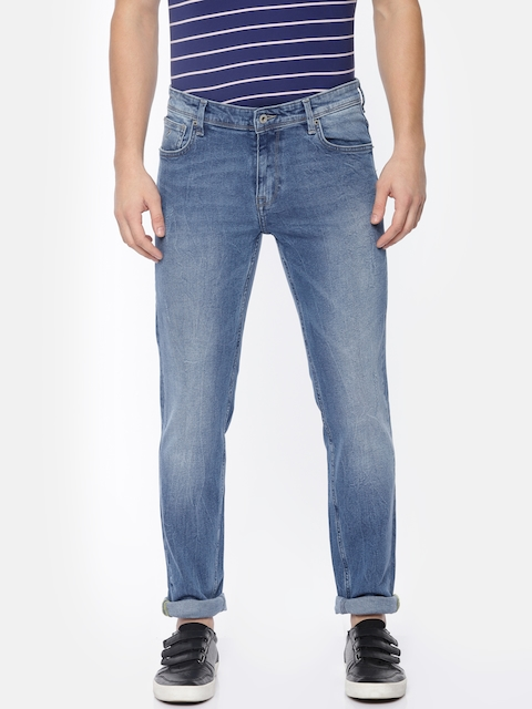 Indian Terrain Men Blue Brooklyn Slim Fit Low-Rise Low Distressed Stretchable Jeans