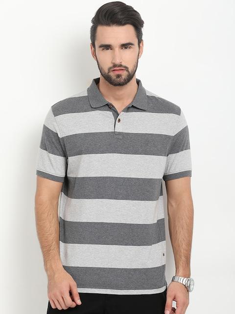 Indian Terrain Men Grey Striped Polo Collar T-shirt