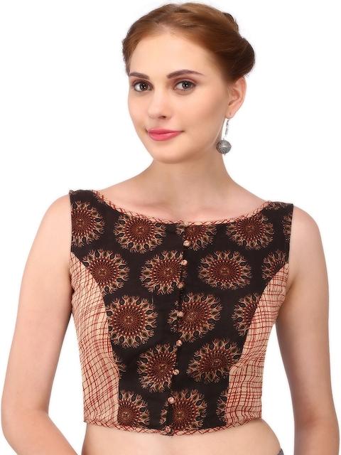 7fc1eea7b1f77 6%off Yosshita   Neha Brown   Maroon Kalamkari Print Cotton Blouse