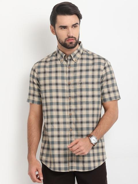 Indian Terrain Men Beige & Green Regular Fit Checked Casual Shirt