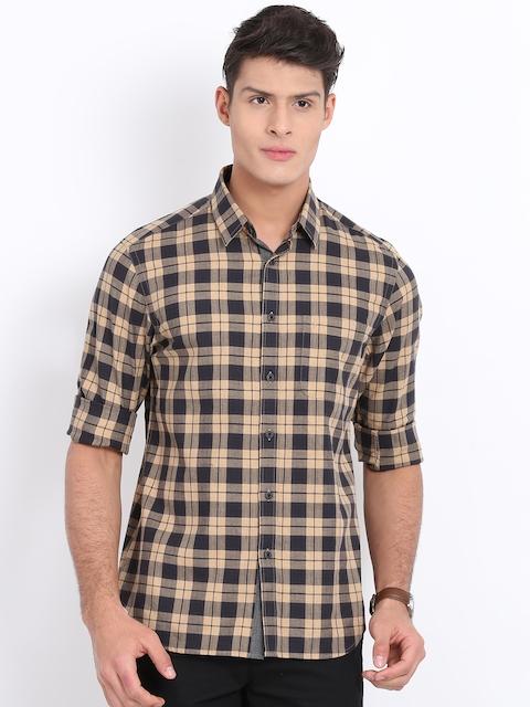 Indian Terrain Men Beige & Charcoal Grey Regular Fit Checked Casual Shirt
