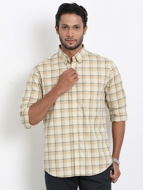 Indian Terrain Men Beige Regular Fit Checked Casual Shirt