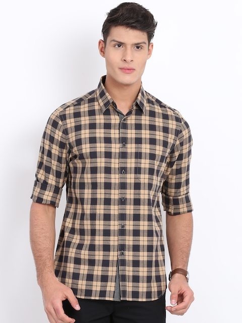 Indian Terrain Men Beige & Charcoal Grey Regular Fit Checked Casual Shirt