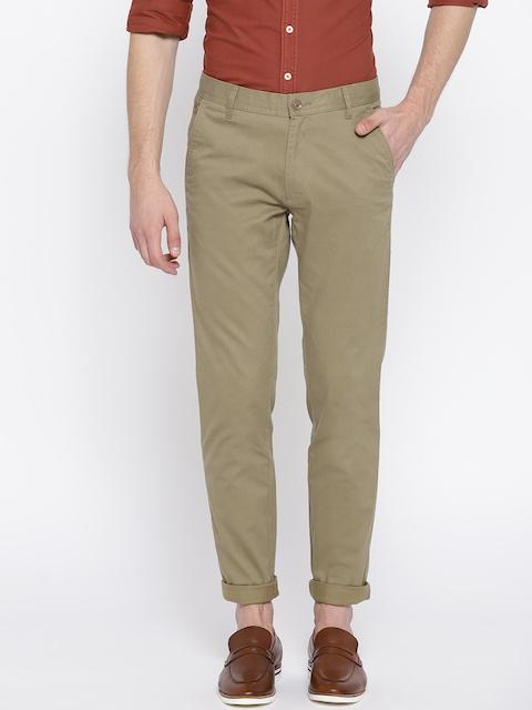 Monte Carlo Men Khaki Printed Smart Fit Solid Regular Trousers