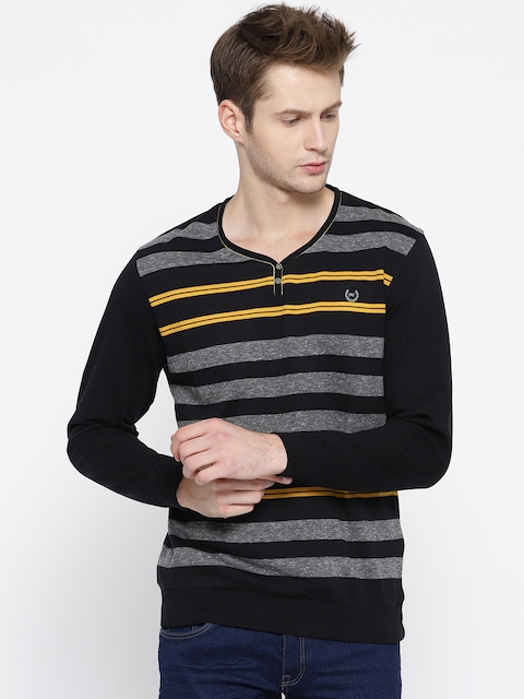 Monte Carlo Men Black & Grey Striped Sweatshirt