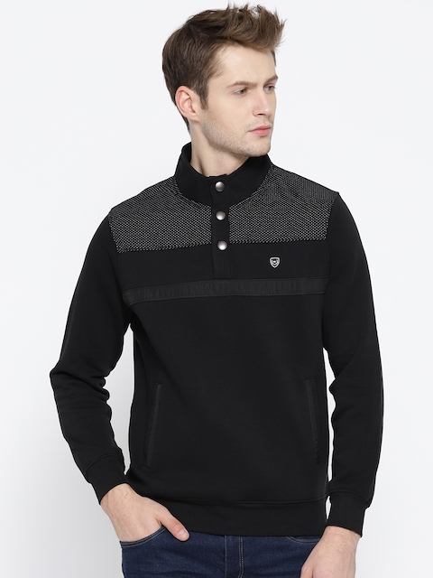 Monte Carlo Men Black Solid Sweatshirt