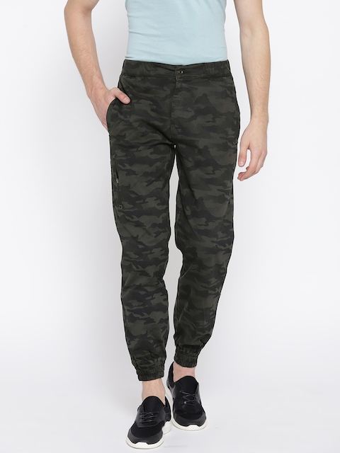 Monte Carlo Men Grey & Blue Green Camouflage Print Joggers