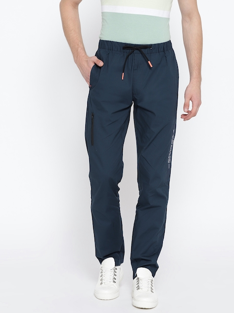 Monte Carlo Navy Blue Solid Track Pants