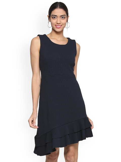 Allen Solly Woman Navy Blue Self Design Drop-Waist Dress