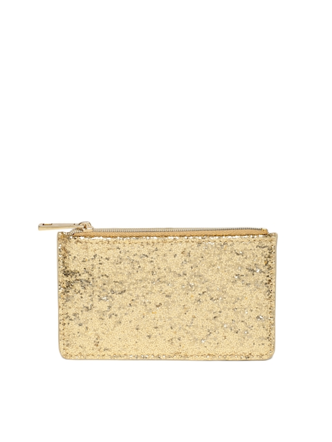 Accessorize Women Gold-Toned Embellished Solid Card Holder