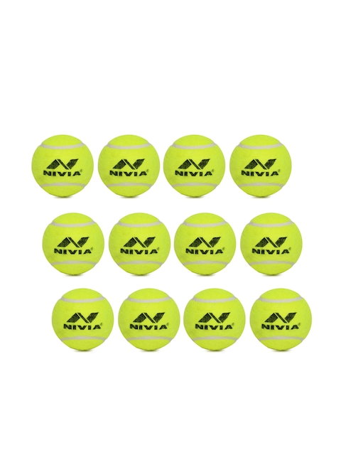 NIVIA Unisex Pack of 12 CT-3812 Fluorescent Green Cricket Tennis Ball