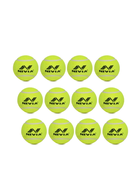 NIVIA Unisex Pack of 12 CT-3802 Fluorescent Green Cricket Tennis Ball