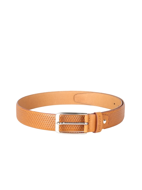 Van Heusen Men Tan Leather Woven Design Belt