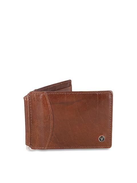 Van Heusen Men Brown Textured Leather Two Fold Wallet