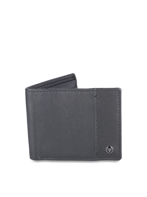 Van Heusen Men Black Textured Leather Two Fold Wallet