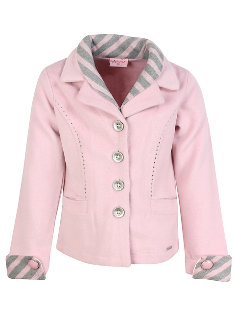 CUTECUMBER Girls Pink Solid Princess Coat