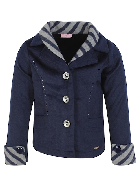 CUTECUMBER Girls Navy Blue Self Design Overcoat