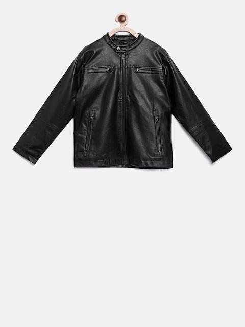 Gini and Jony Boys Black Solid Biker Jacket