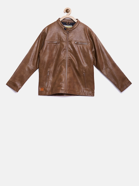 Gini and Jony Boys Brown Solid Leather Jacket
