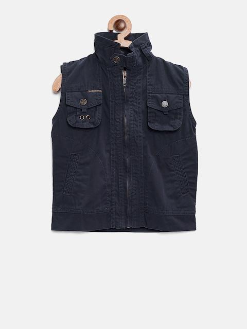 Gini and Jony Boys Navy Solid Tailored Jacket