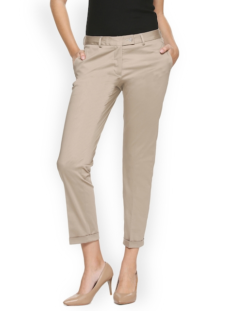 Van Heusen Women Khaki Regular Fit Solid Trousers