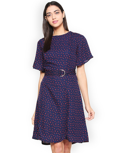 Van Heusen Woman Women Navy Blue Printed Fit and Flare Dress