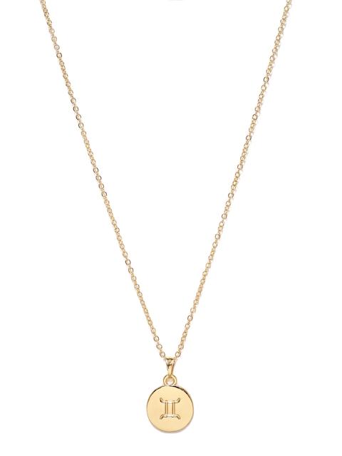 Ayesha Metallic Gold Toned Gemini Pendant With Chain