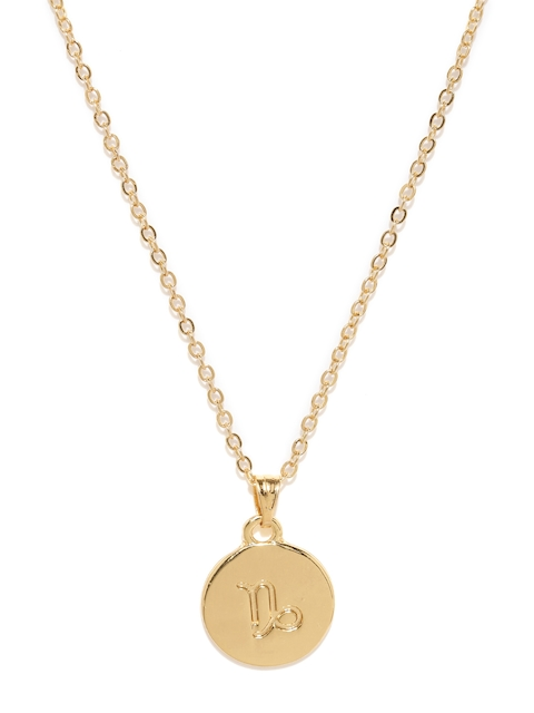 Ayesha Gold-Toned Capricorn Pendant with Chain