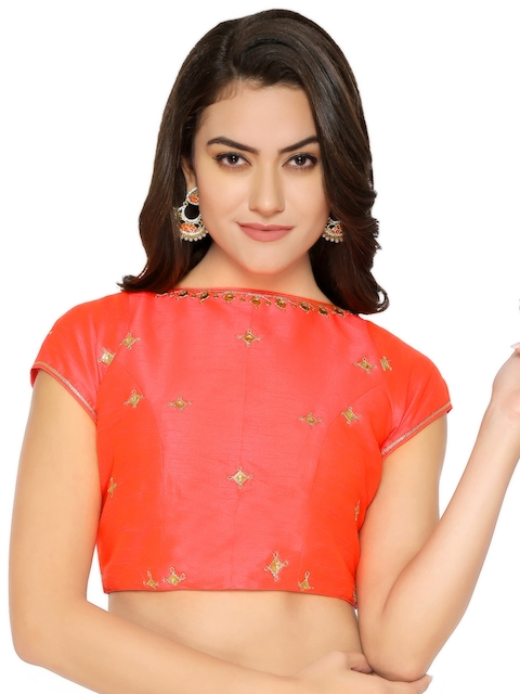 Yosshita & Neha Pink Silk Embellished Saree Blouse