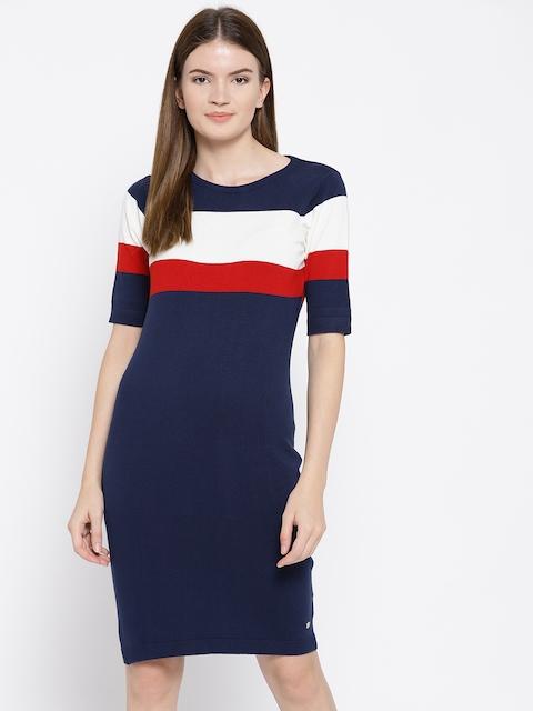 U.S. Polo Assn. Women Navy Blue Colourblocked Sweater Dress