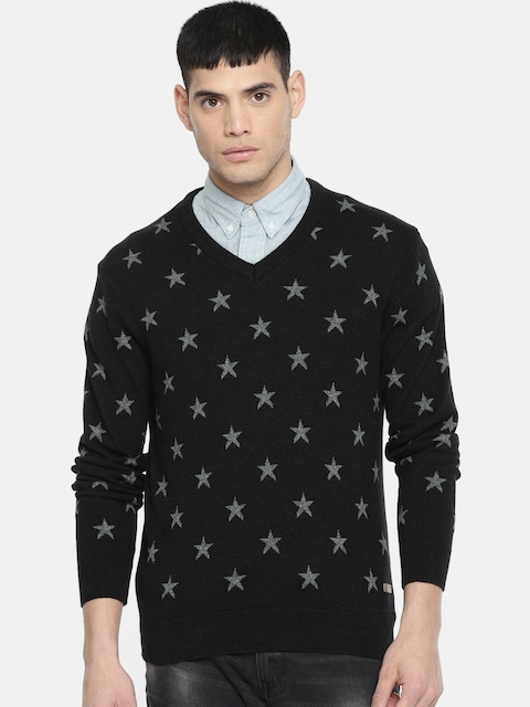 U.S. Polo Assn. Men Black Printed Pullover