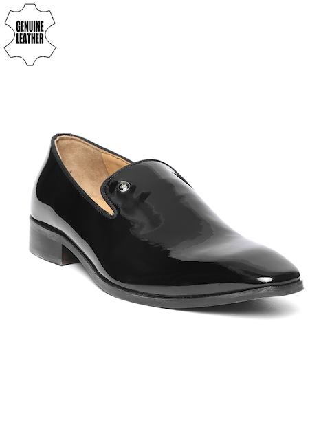 Louis Philippe Men Black Leather Semiformal Slip-Ons