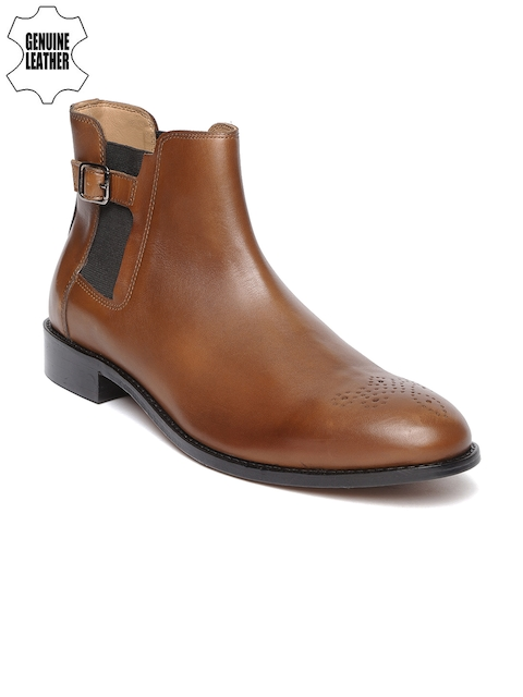 Louis Philippe Men Tan Genuine Leather Mid-Top Flat Boots