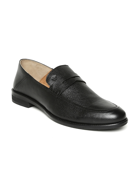 Louis Philippe Men Black Solid Genuine Leather Formal Slip-Ons