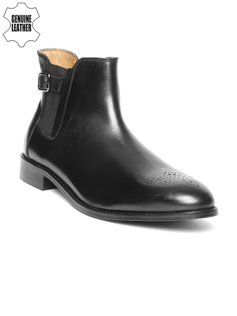 Louis Philippe Men Black Solid Leather Mid-Top Flat Boots