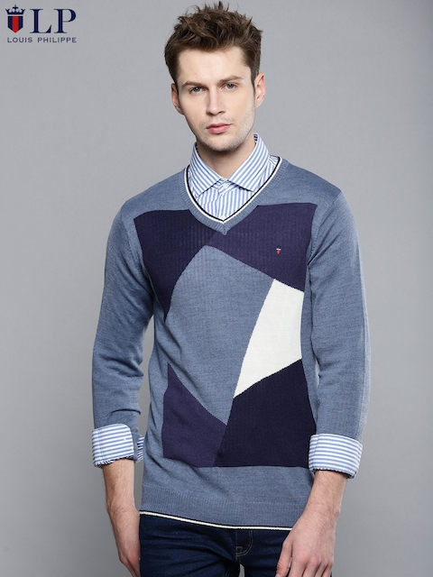 Louis Philippe Sport Men Blue Self-Design Sweater
