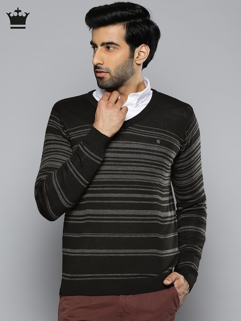 Louis Philippe Men Black & Grey Striped Pullover
