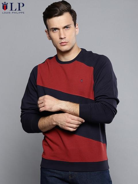Louis Philippe Sport Men Rust Red & Navy Blue Colourblocked Sweatshirt