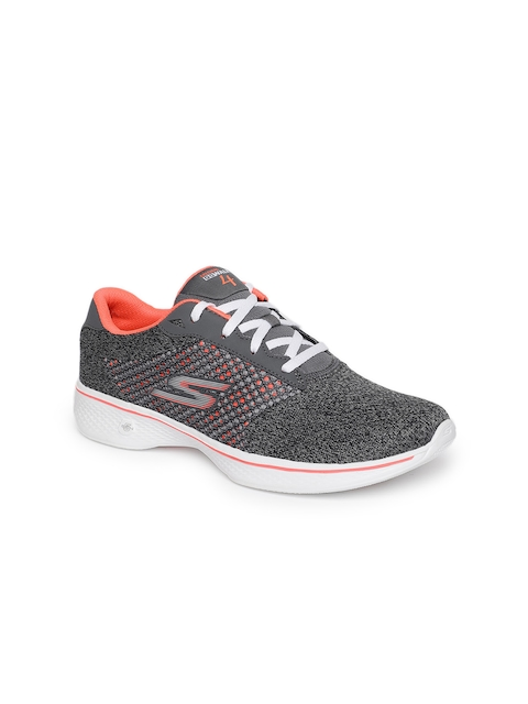 Skechers Women Charcoal Grey & Coral Pink GO WALK 4 EXCEED Walking Shoes