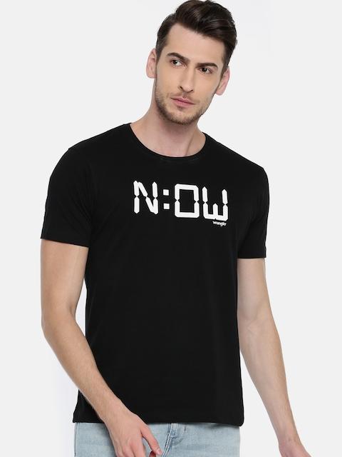 Wrangler Men Black Rubber Print Round Neck T-shirt