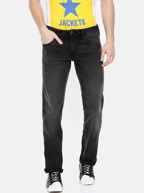 Wrangler Men Black Regular Fit Low-Rise Clean Look Stretchable Jeans