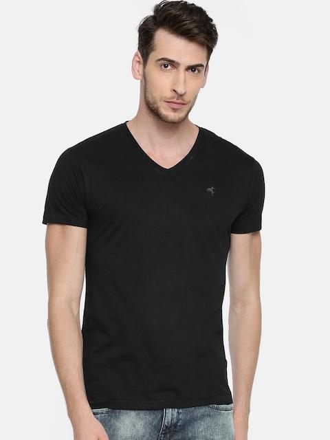 Wrangler Men Black Solid V-Neck T-shirt