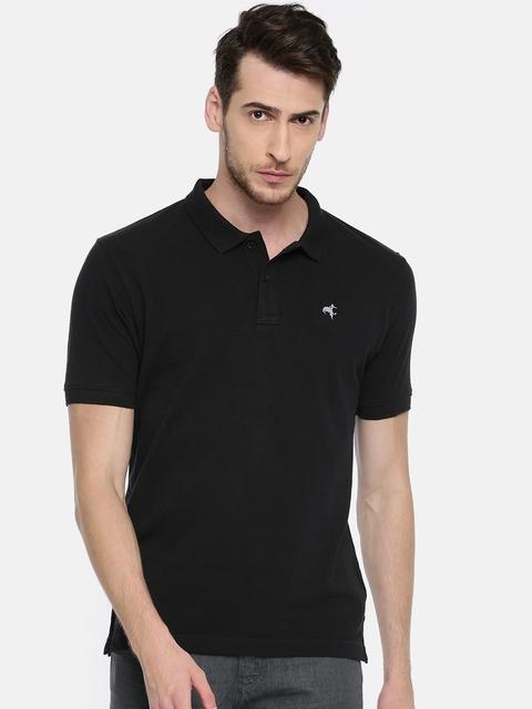 Wrangler Men Black Solid Polo Collar T-shirt